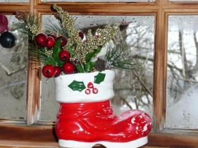 Vintage Christmas Boot Arrangement